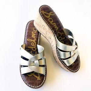 Sam Edelman Raynere Wedge Metallic Sandal Size 6.5